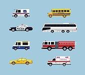 Vehicle Transportation - vector flat design icons set
