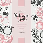 Two Side Fruit Frame - vector hand drawn design illustration
