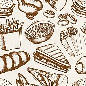 Fast food - one color hand drawn seamless pattern