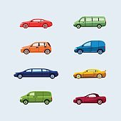 Car Classification - modern vector flat design icons set.