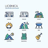 Camping Time - modern vector icons set.