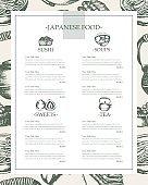 Japanese Food - vintage hand drawn template menu