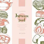 Japanese Food - color hand drawn postcard, banner.