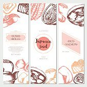 Japanese Food - color hand drawn square template banner.