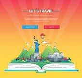 Lets travel - vector line travel illustration