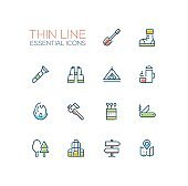 Camping and Hiking - line icons set