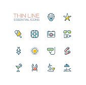 At the Beach - line icons set