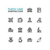 Traveling - line icons set