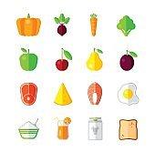 Healthy Food - modern color vector flat design icon set