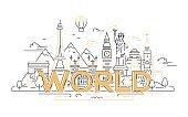 World - vector line travel illustration