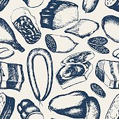 Processed Meat - hand drawn seamless pattern