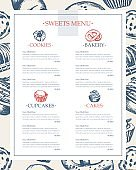 Delicious Sweets - monochromatic hand drawn template menu