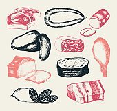 Processed Meat - hand drawn composite illustration