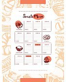 Delicious Sweets - color hand drawn composite template menu