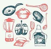Kitchen Ware - illustration of vector vintage composition