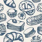 Delicious Sweets - monochromatic hand drawn seamless pattern