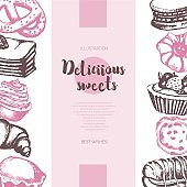 Delicious Sweets - color hand drawn composite banner.