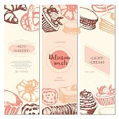 Delicious Sweets - color hand drawn square template card.