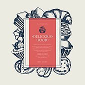 Delicious Food - monochromatic hand drawn square banner.