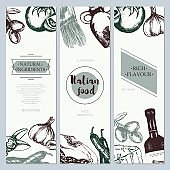Italian Food - color hand drawn square flyer.