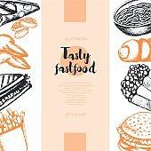 Fast food - color hand drawn vintage banner template.