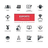 eSports - Modern simple thin line design icons, pictograms set