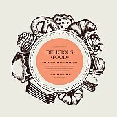 Delicious Food - monochromatic hand drawn round banner.