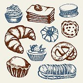 Delicious Sweets - color hand drawn illustrative composition.