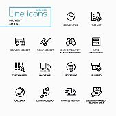 Delivery - modern vector single line icons set