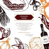 Italian Food - color hand drawn composite flyer.