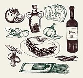 Italian Food - hand drawn illustrative composition.