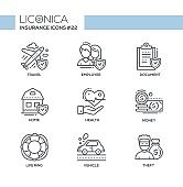 Insurance - monochromatic modern single line icons set