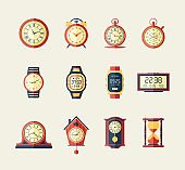 Clocks and Watches - modern vector flat design icons set.