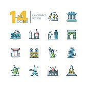Landmarks - colored modern single line icons set