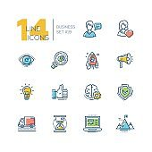 Business - colored modern single line icons set