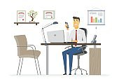 Office Man - modern vector flat illustration