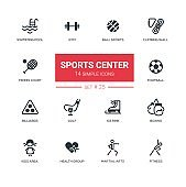 Sports center - modern simple icons, pictograms set