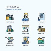 Shopping - modern vector flat line icon set.