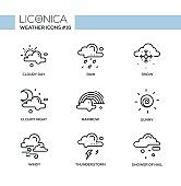 Weather - black and white modern single line icons set