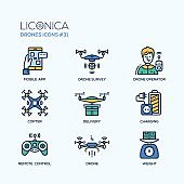 Drones - modern vector flat line design icons set.