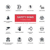 Safety Signs - modern simple icons, pictograms set
