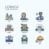 Hotel - modern vector flat line design icons set.