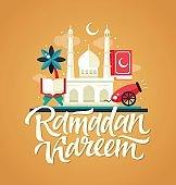 Ramadan Kareem - Postcard template with mosque, slamic culture icons