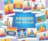 Around the world - vector line travel illustration