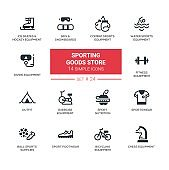 Sporting goods store - modern simple icons, pictograms set