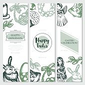 Happy Easter - color hand drawn square template card.