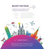 Enjoy the Tour - flat design travel composition