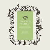 Delicious Coffee - monochromatic hand drawn square banner.