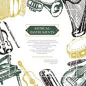 Musical Instruments - color hand drawn postcard template.