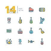 Musical Instruments - thick line icons set